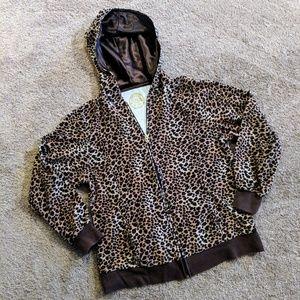 Animal Print Zippered Sweatshirt